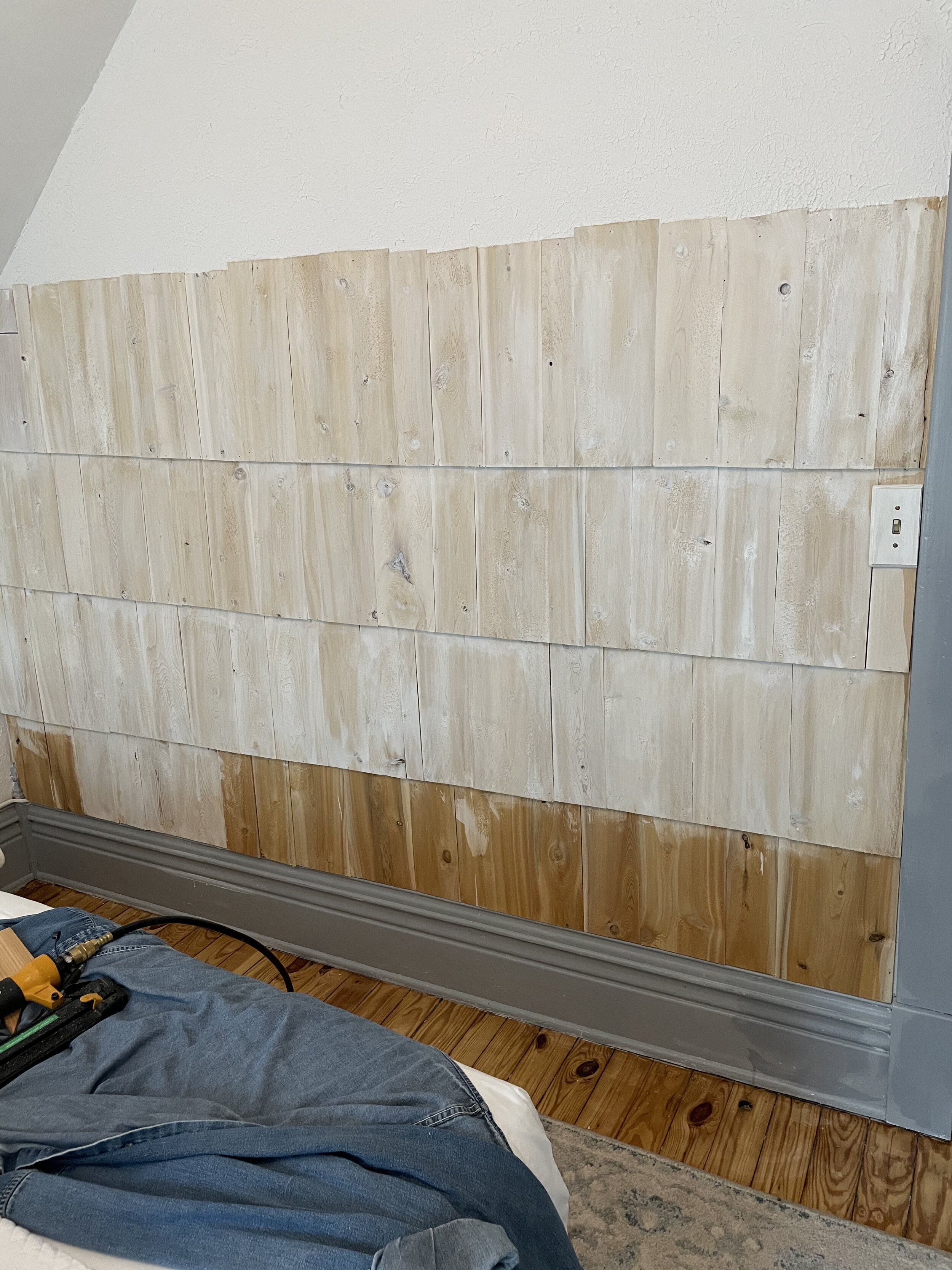 White washed accent wall