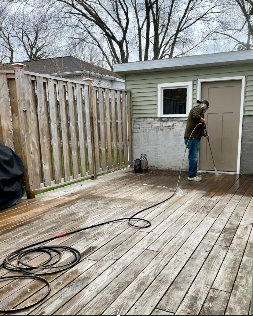 Power washing in 45 degrees was chilly!