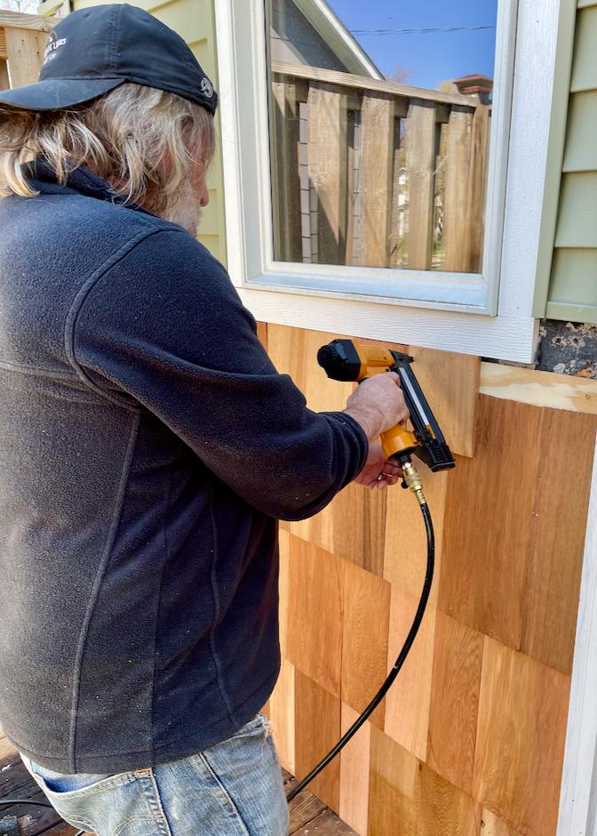 Adding cedar shake to the shed