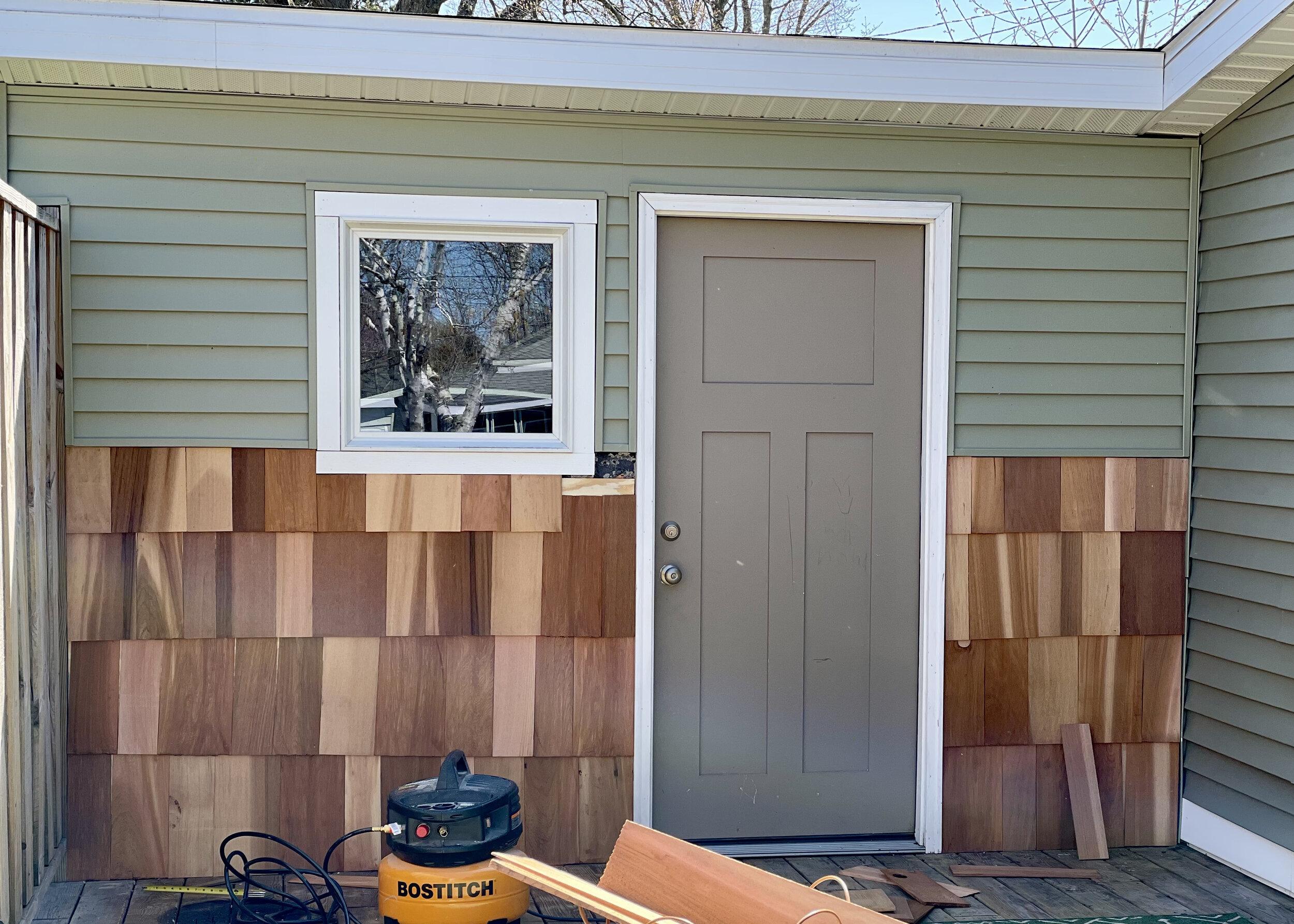 Cedar Shake Siding completed.