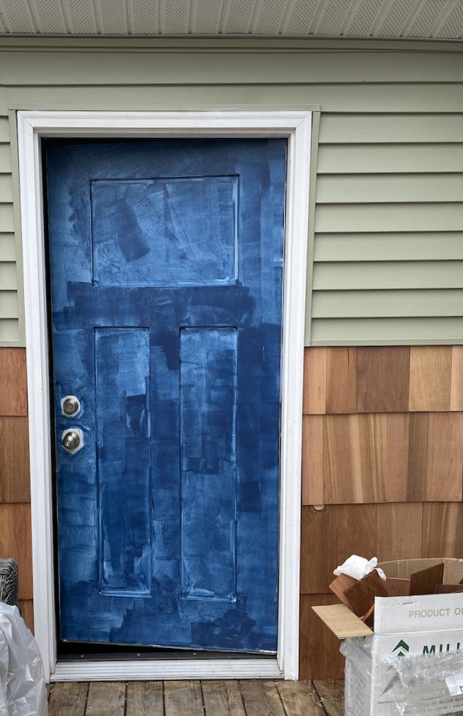 Painting door progress