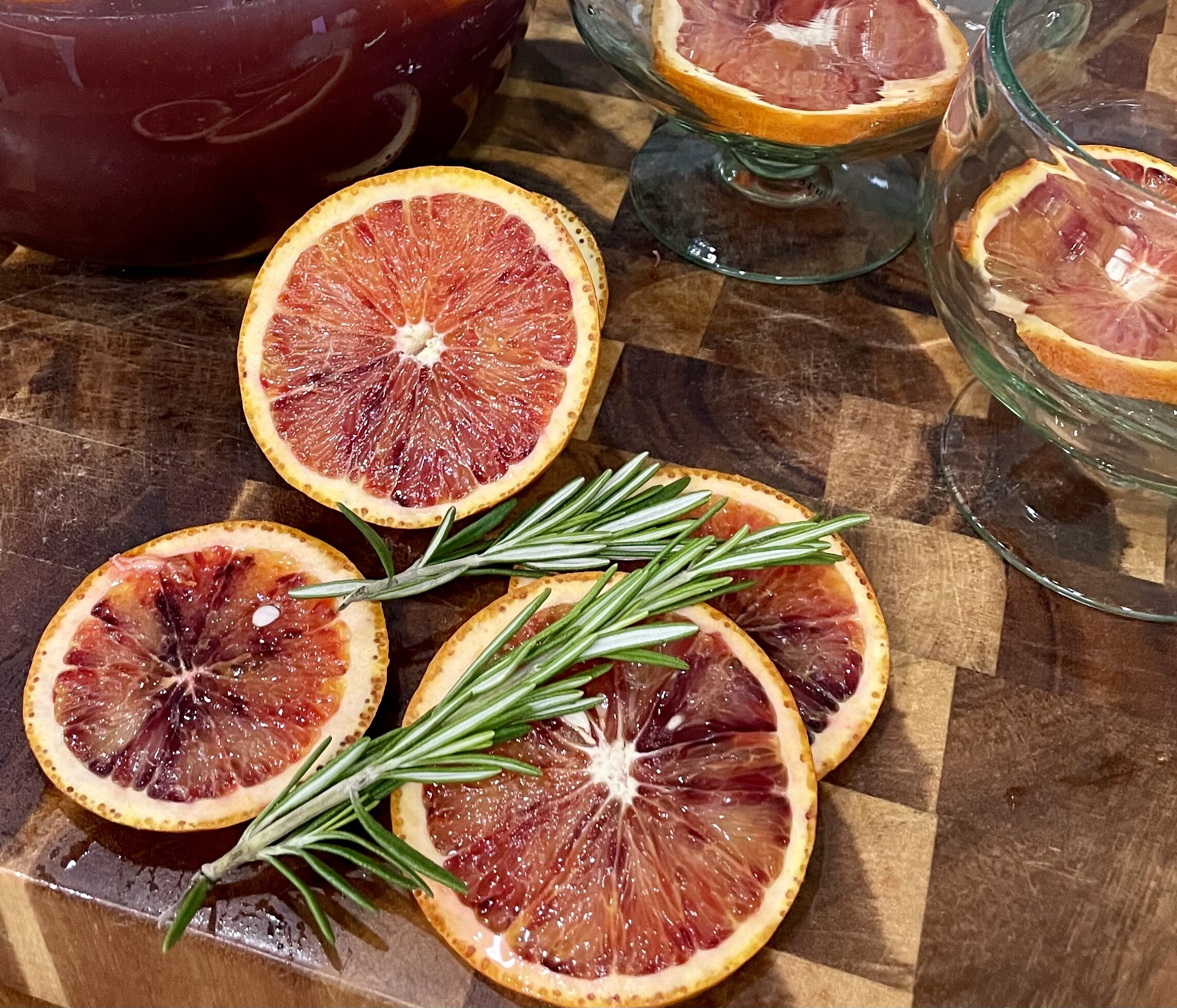 Blood oranges in a Summer White Sangria