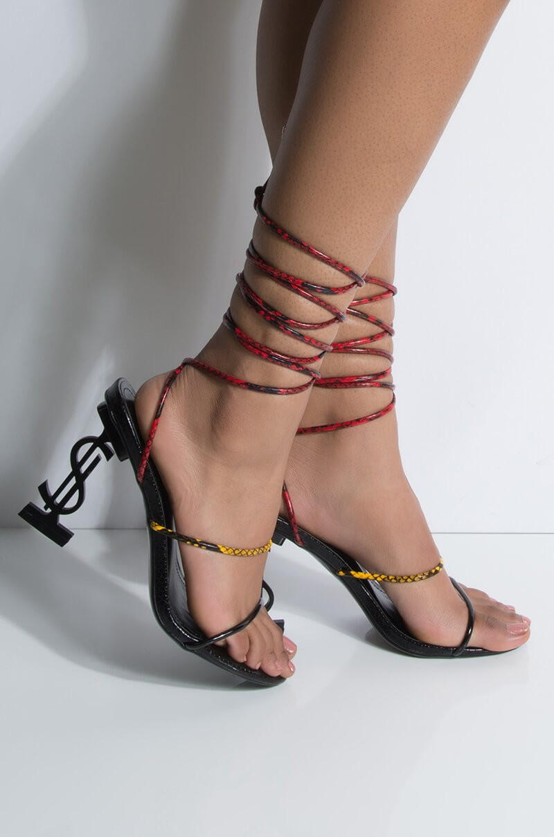 """Tell Me Your Secrets"" heeled sandals, ($55)"