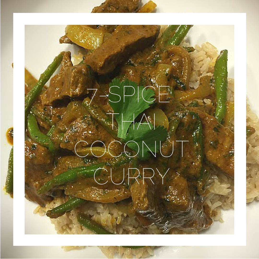 7 Spice Thai Coconut Curry with Text