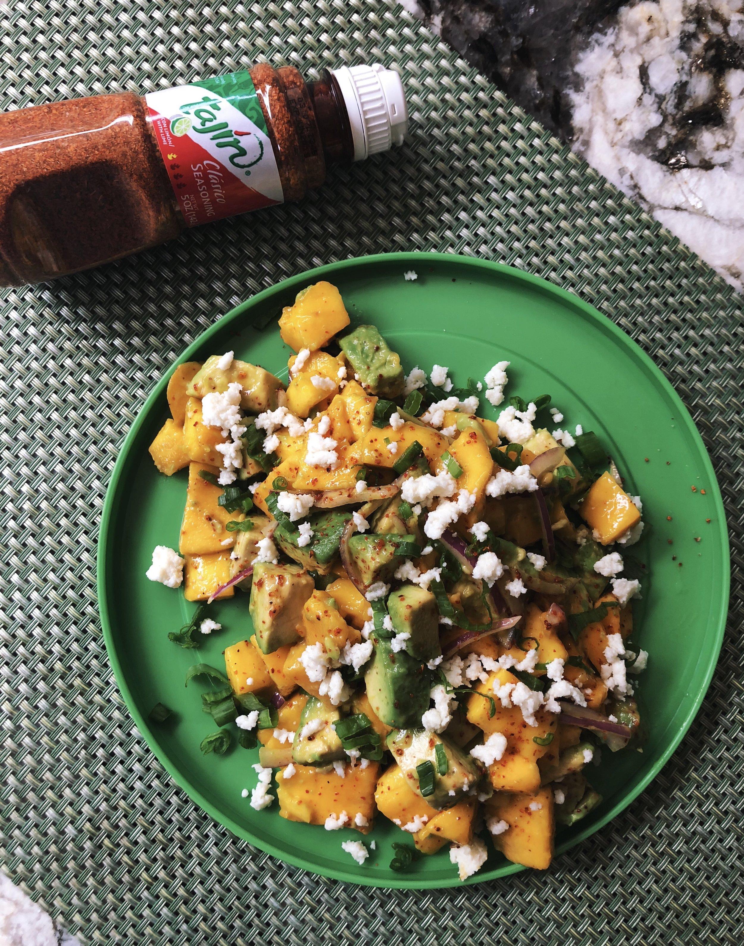 Ataulfo Mango with Avocado, Tajín, and Queso Fresco - tatichin.com