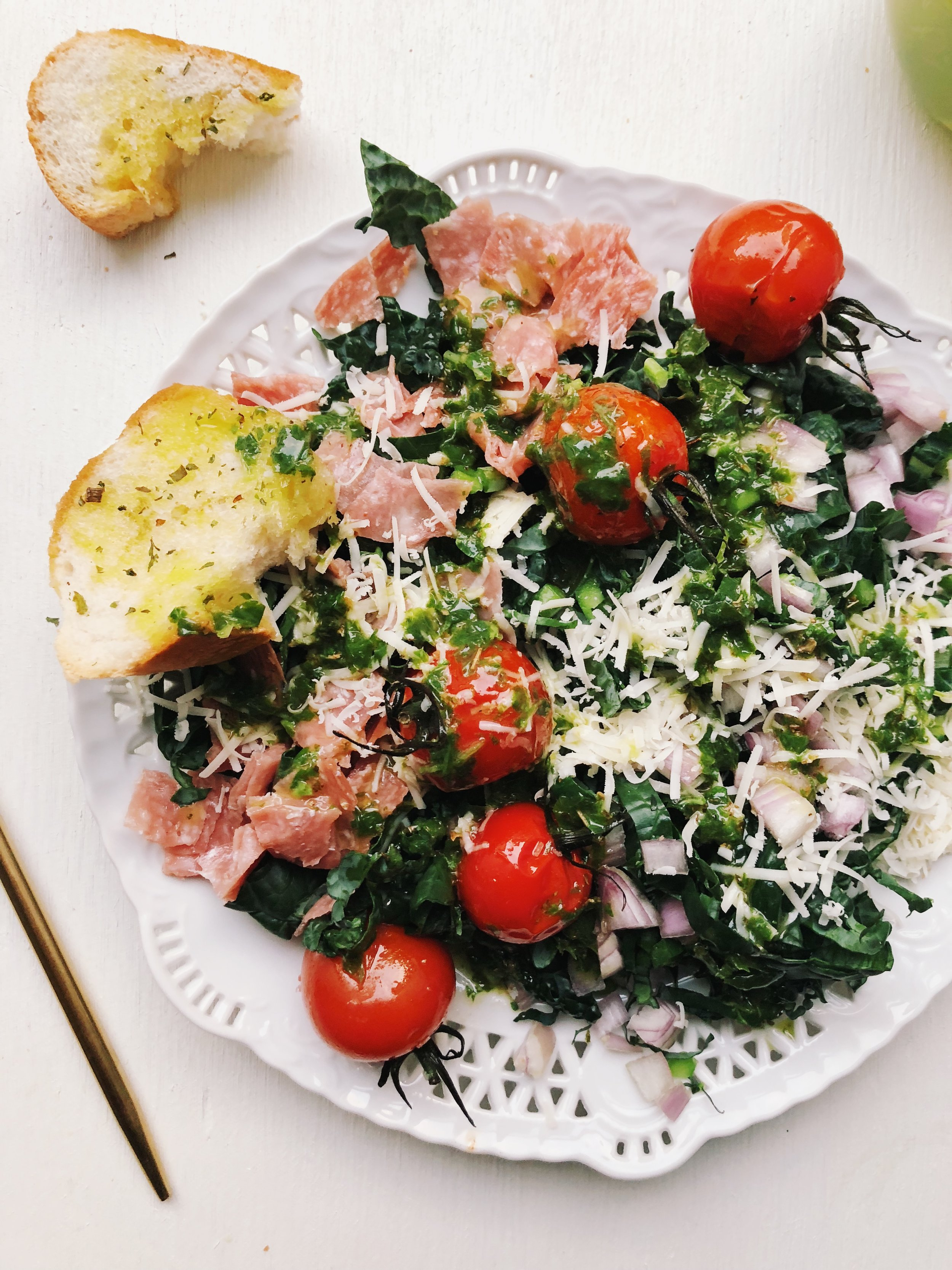 Tuscan Kale Chopped Salad with Sweet Basil Vinaigrette - tatichin.com