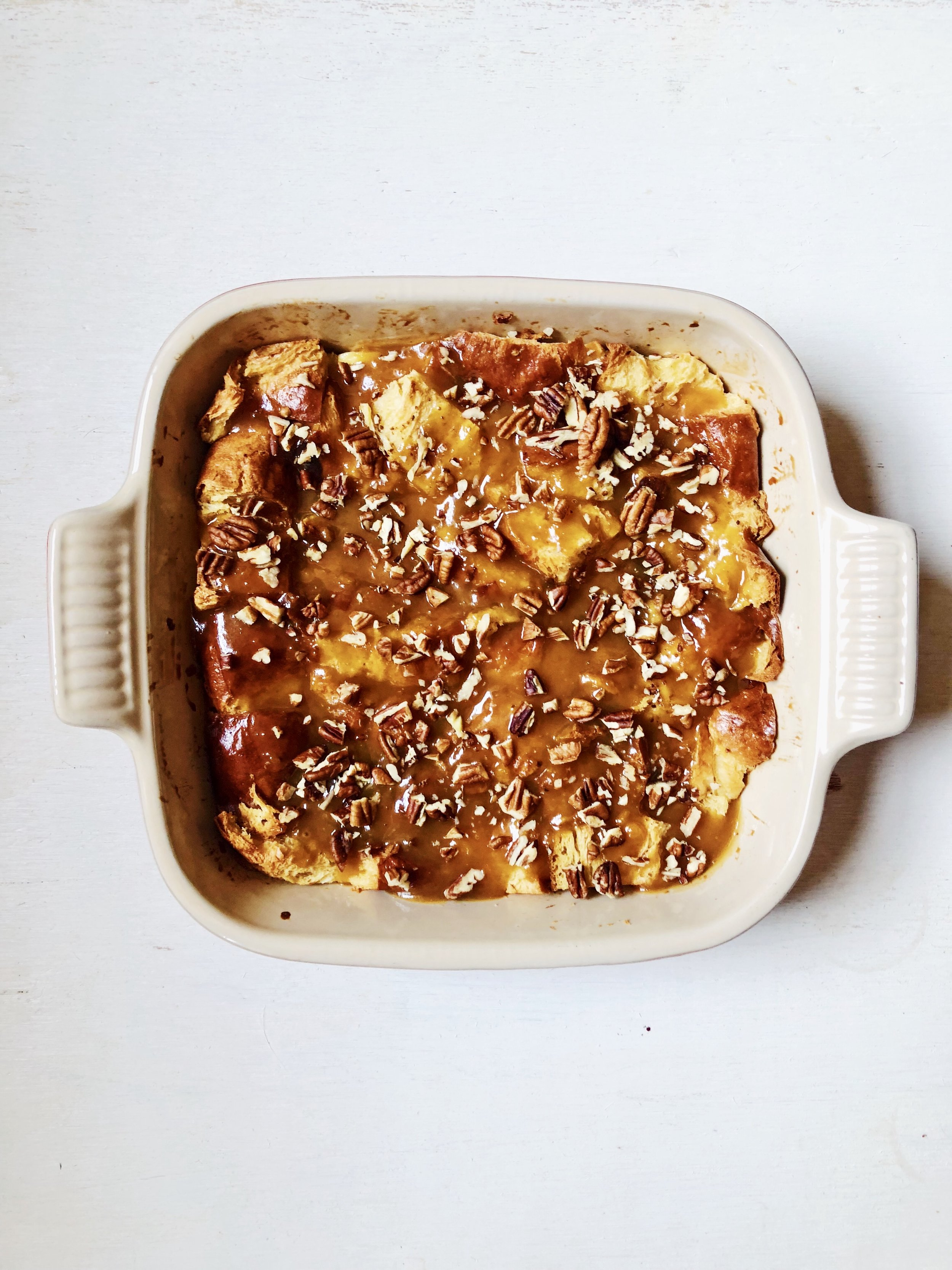 Challah Five Spice Bread Pudding with Sweet Potato Caramel