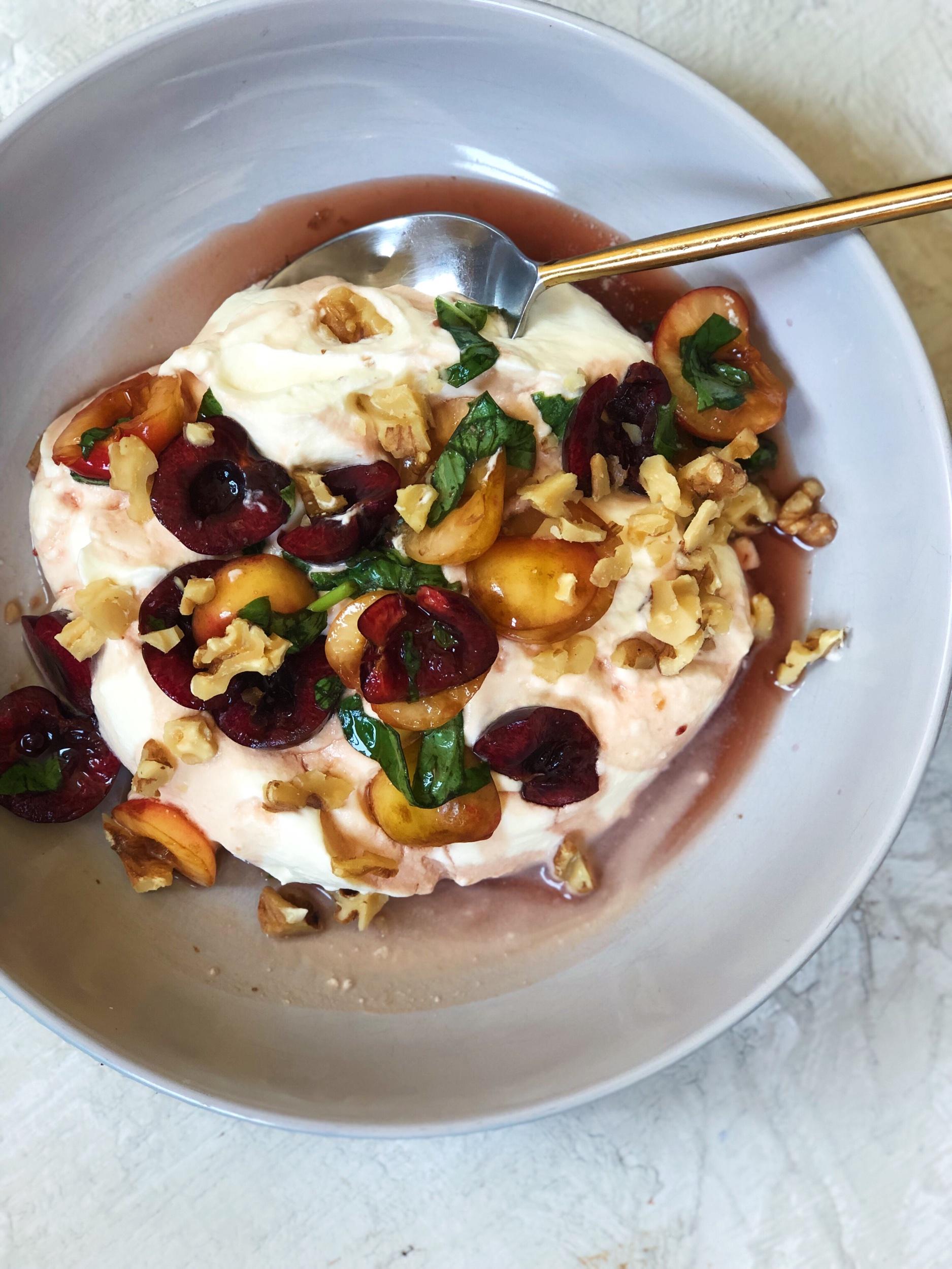 basil-macerated cherries and lemon cream   tatichin.com
