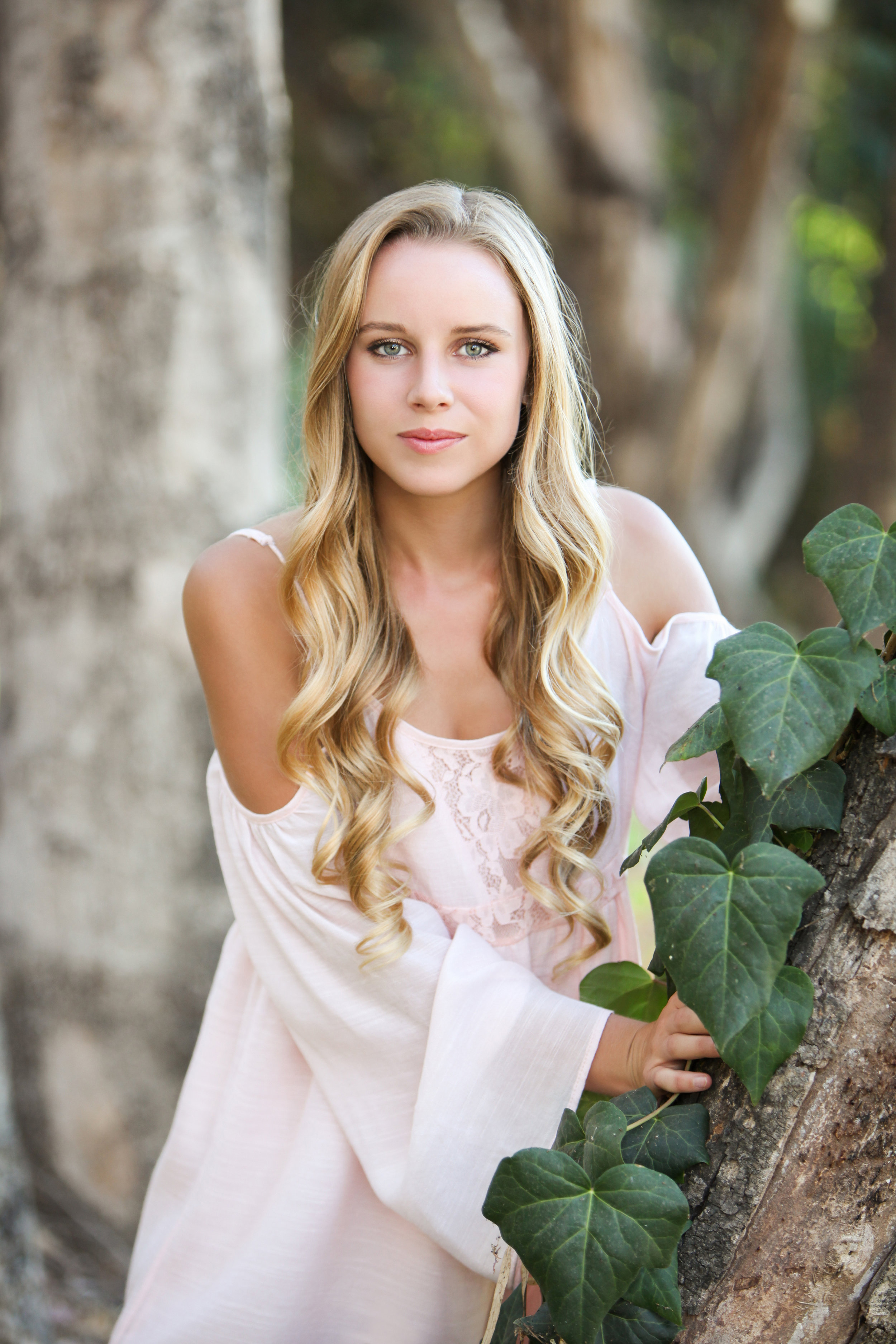High school senior girl with long blonde hair