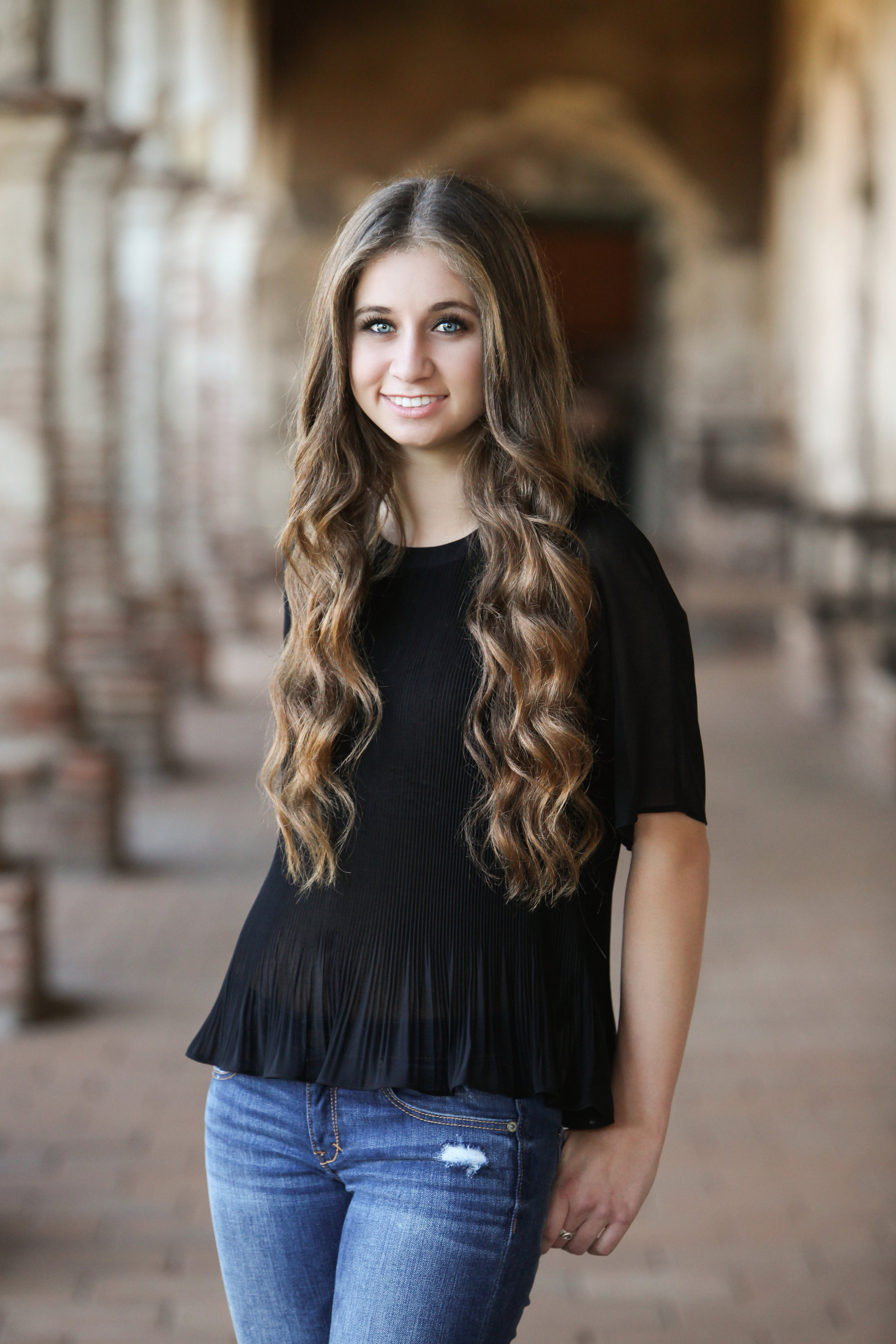 High school senior girl with long brown hair