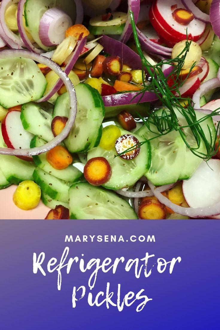 Refrigerator Pickles using red onion, early carrots, cucumbers, salad turnips, and radishes.