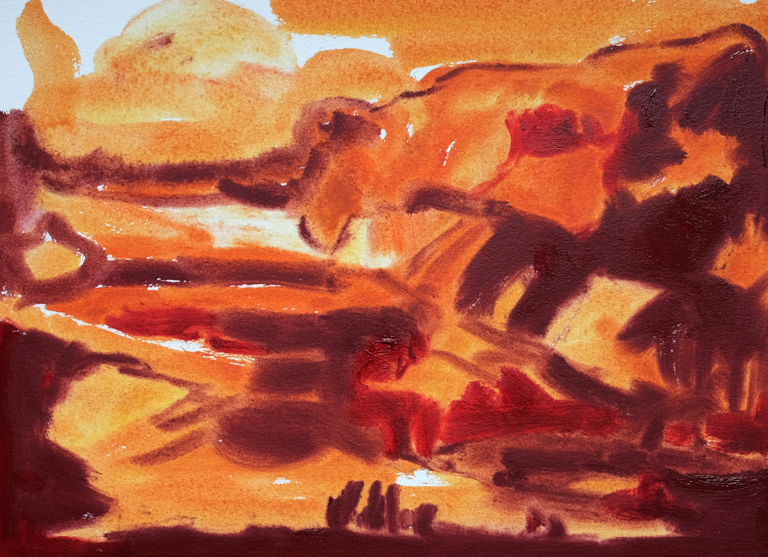 "SUMMER FIRES | oil on paper | 11"" x 7.75"""