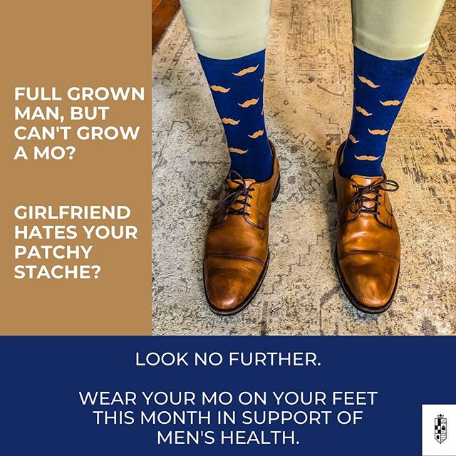 Our sock this month features a navy x espresso crew with moustaches in support of @movember tackling prostate cancer, testicular cancer, mental health and suicide prevention.  Although we generally pair our socks with a cocktail or fit of the month, this month our pairing is in the form of dollars contributed to the Movember Foundation - $1 for every current and new subscriber we have by the end of the month + $5 for every photo that YOU post to Instagram or Facebook this month wearing our moustache socks with @kingxportland and Movember tagged in the comment! Join your mo bros across the country in a support of an amazing cause.