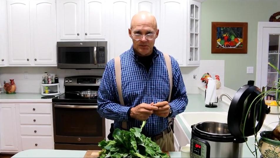 Farmer Fred preparing Swiss Chard in an Instant Pot!