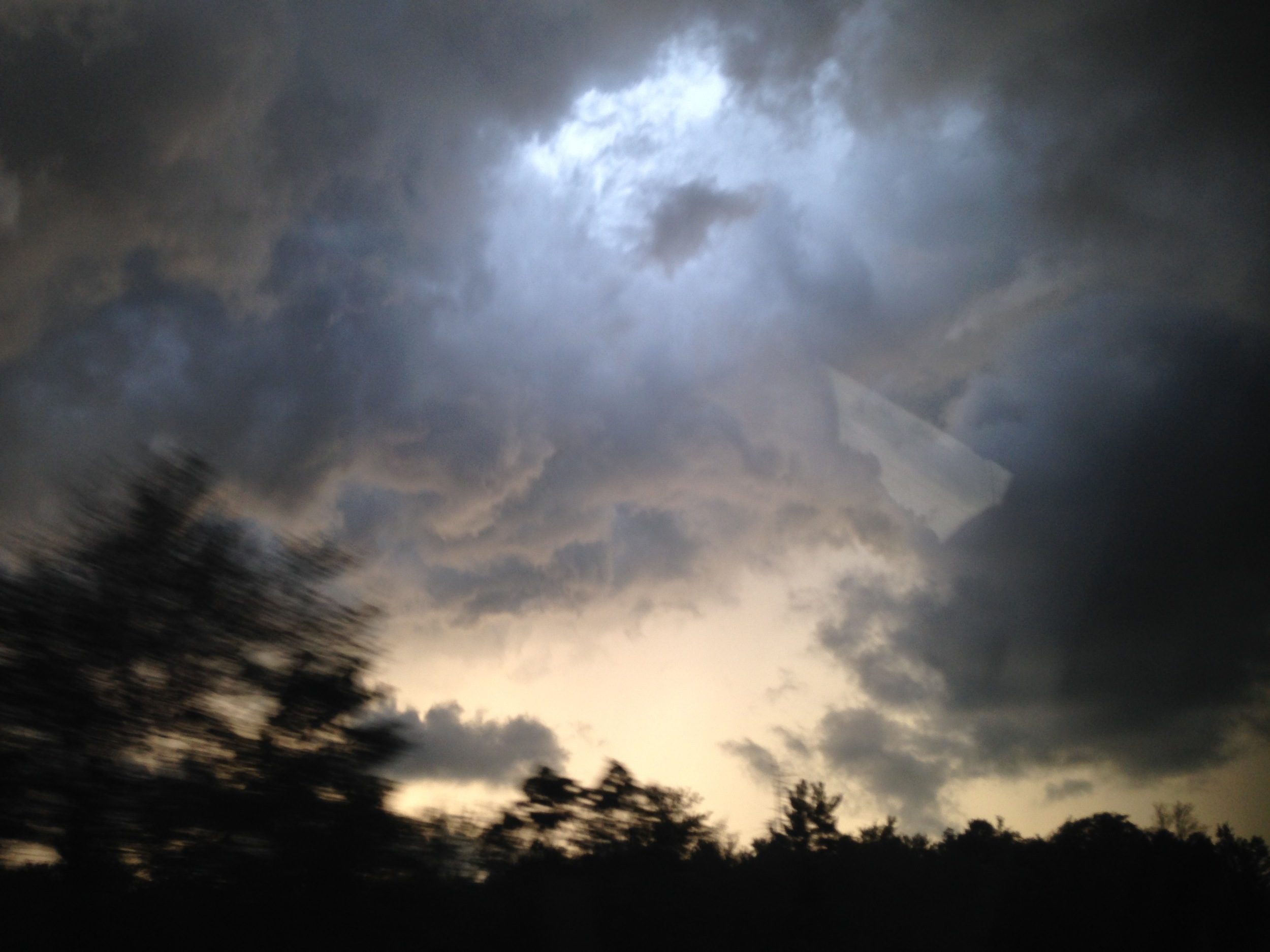 A quick glimpse of the storm clouds we ran into on the way home. We got stuck in the eye of the storm, but it was quite a beautiful thing in retrospect!
