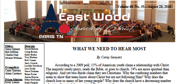 Bulletin for the East Wood church of Christ in Paris, TN for Aug. 28, 2016