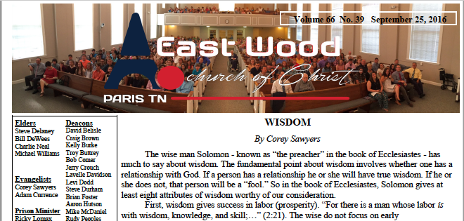 Bulletin for the East Wood church of Christ in Paris, TN.