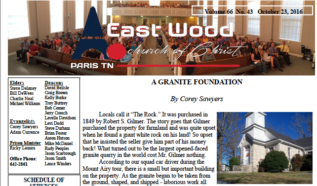 Bulletin for the East Wood church of Christ in Paris, TN, 10.23.16