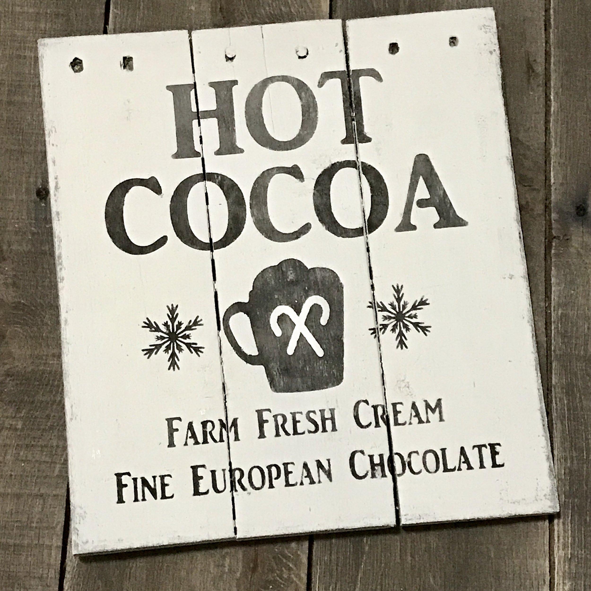 farmhouse hot cocoa sign