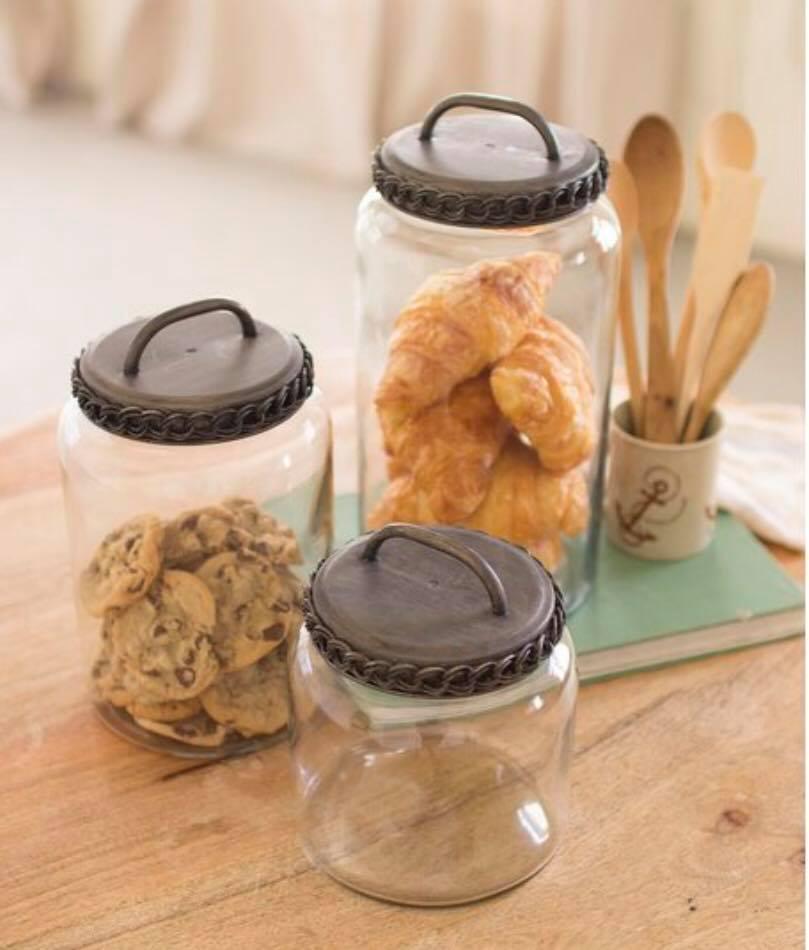 Jars with metal rope lids