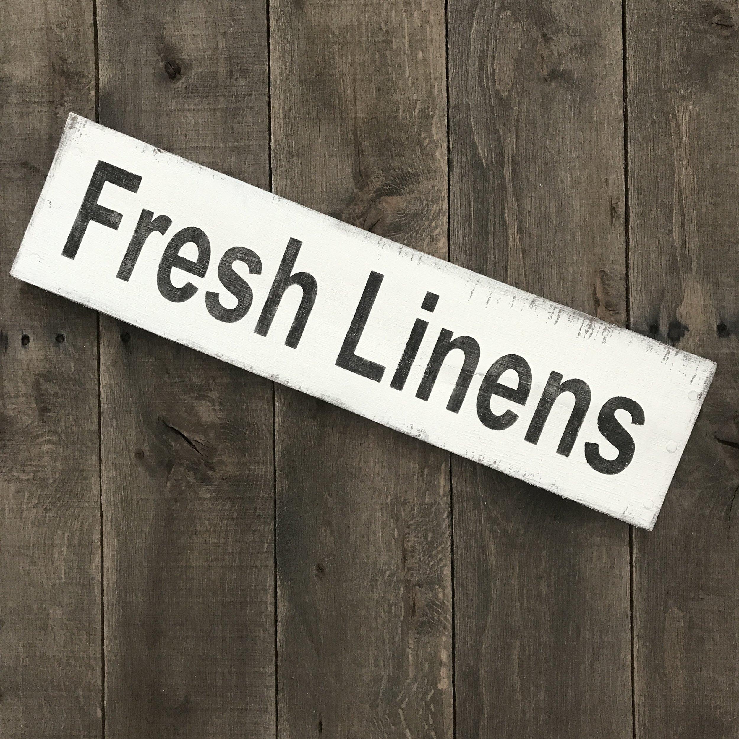Fresh linens farmhouse sign