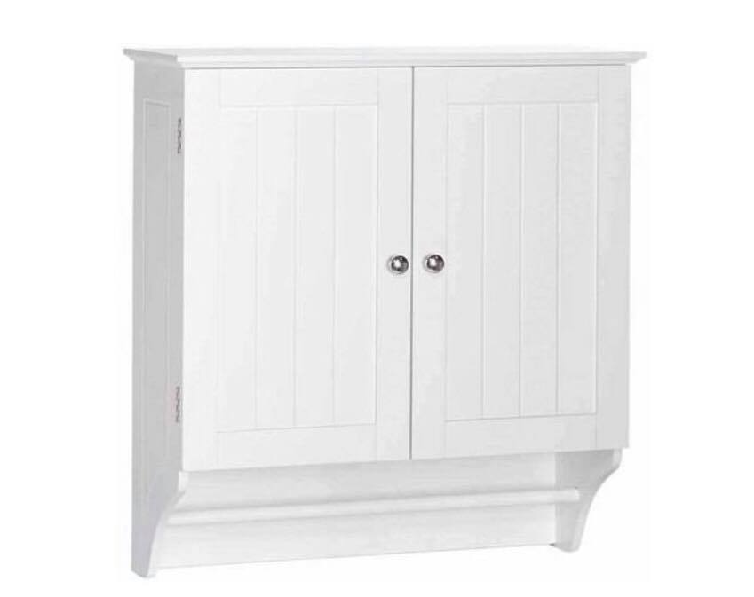 White Medicine cabinet with towel rack