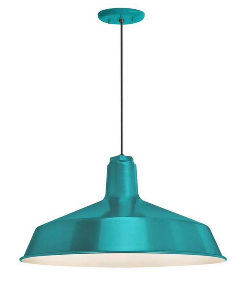Teal pendant school house lighting