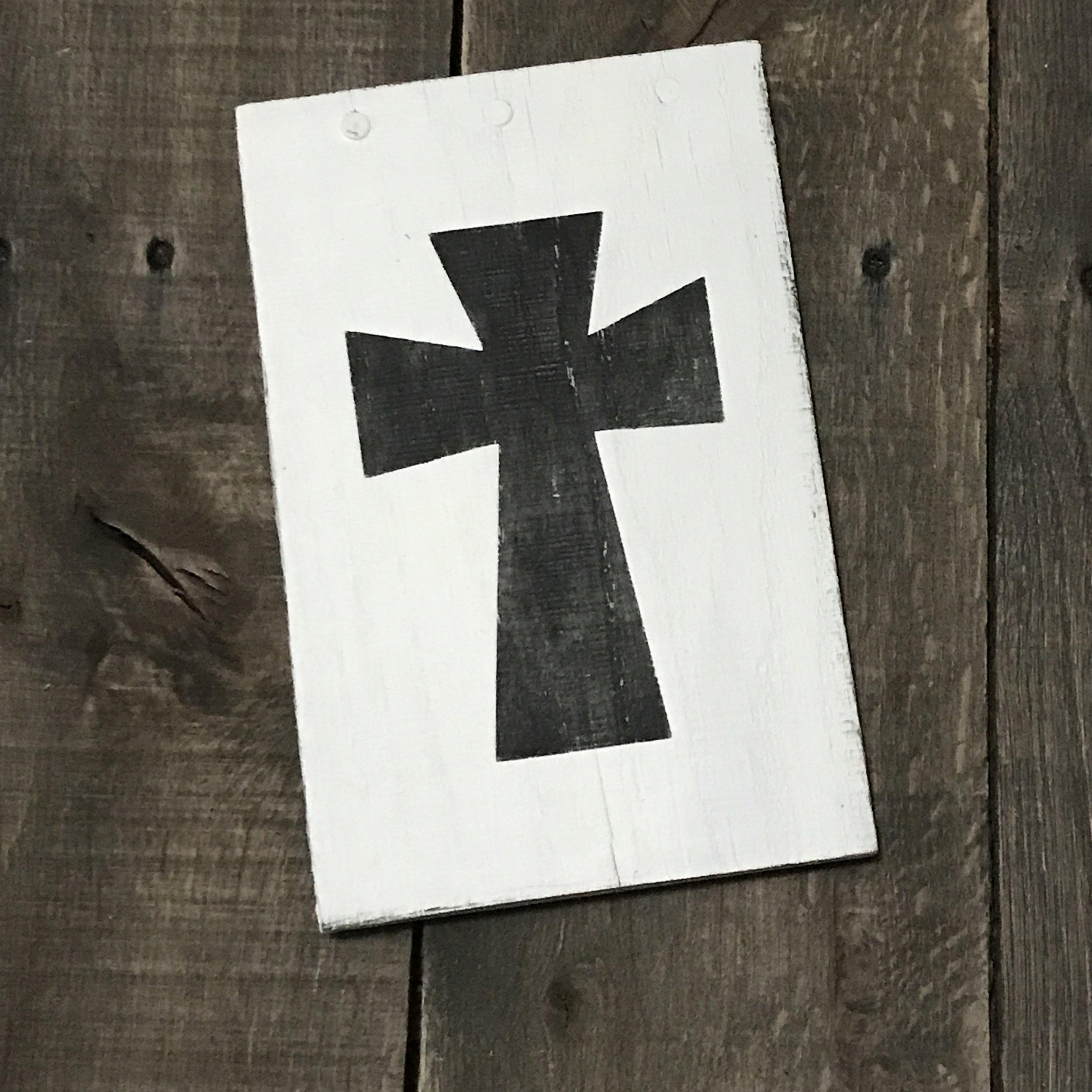 Vintage black cross sign