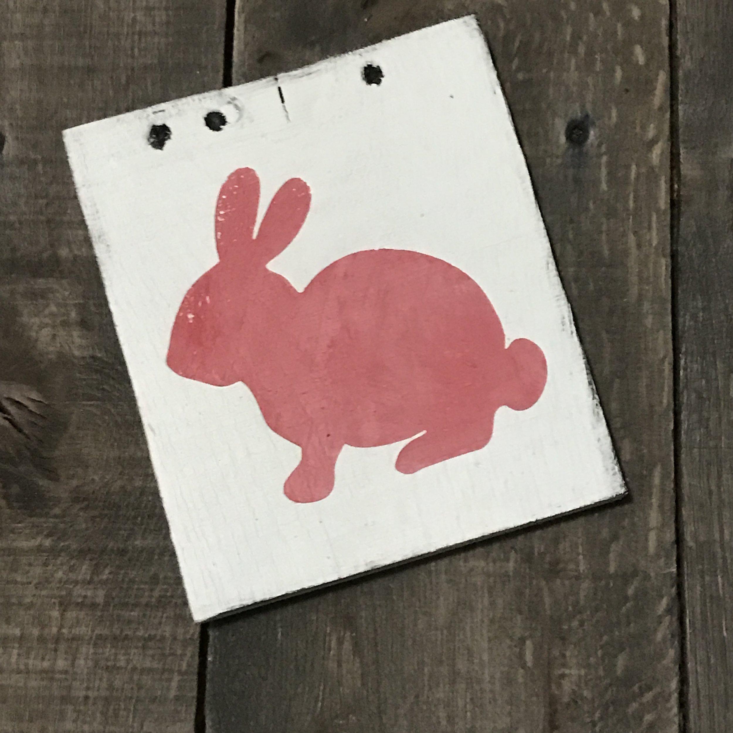 Pink bunny Vintage sign