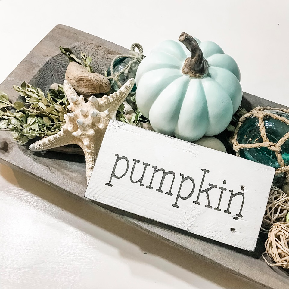 Pumpkin word sign dough bowl