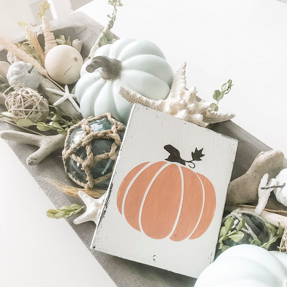 Pale orange pumpkin sign dough bowl
