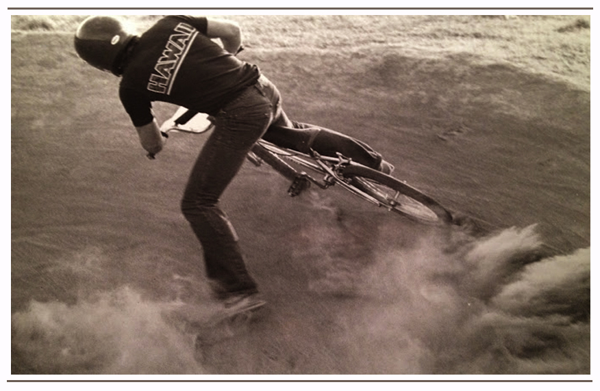 Powerslide through a berm at Gnarlsbad BMX track in Omaha, Nebraska. Brad raced here with friends Tim Lillethorup, Chris Heydan, Greg Grubbs and others.