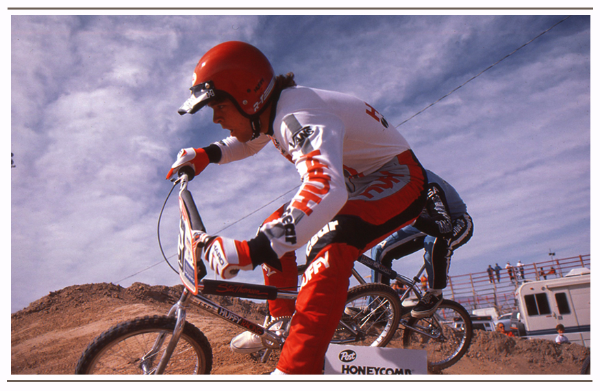 An action photo shot by Brad while he was Editor ABA Action/Assistant Editor of Bicycles and Dirt Magazine.