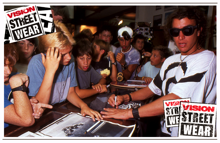 The infamous Mark Gator Rogowski signs autographs for kids during a trip to Hawaii. Brad traveled the world and with his team of legendary pro skateboarders.