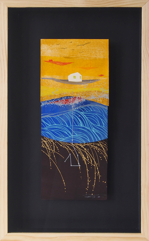Jonathan Yukio Clark x Sayaka Kawamura   Ka Makau Nui o Māui   woodblock print, silkscreen print, gold leaf on paper, silk, wood  2014  21 x 13 in
