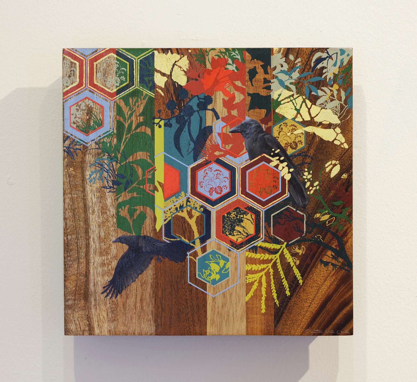 Growth   oil, silkscreen print on hardwood  2013  11 x 11 in