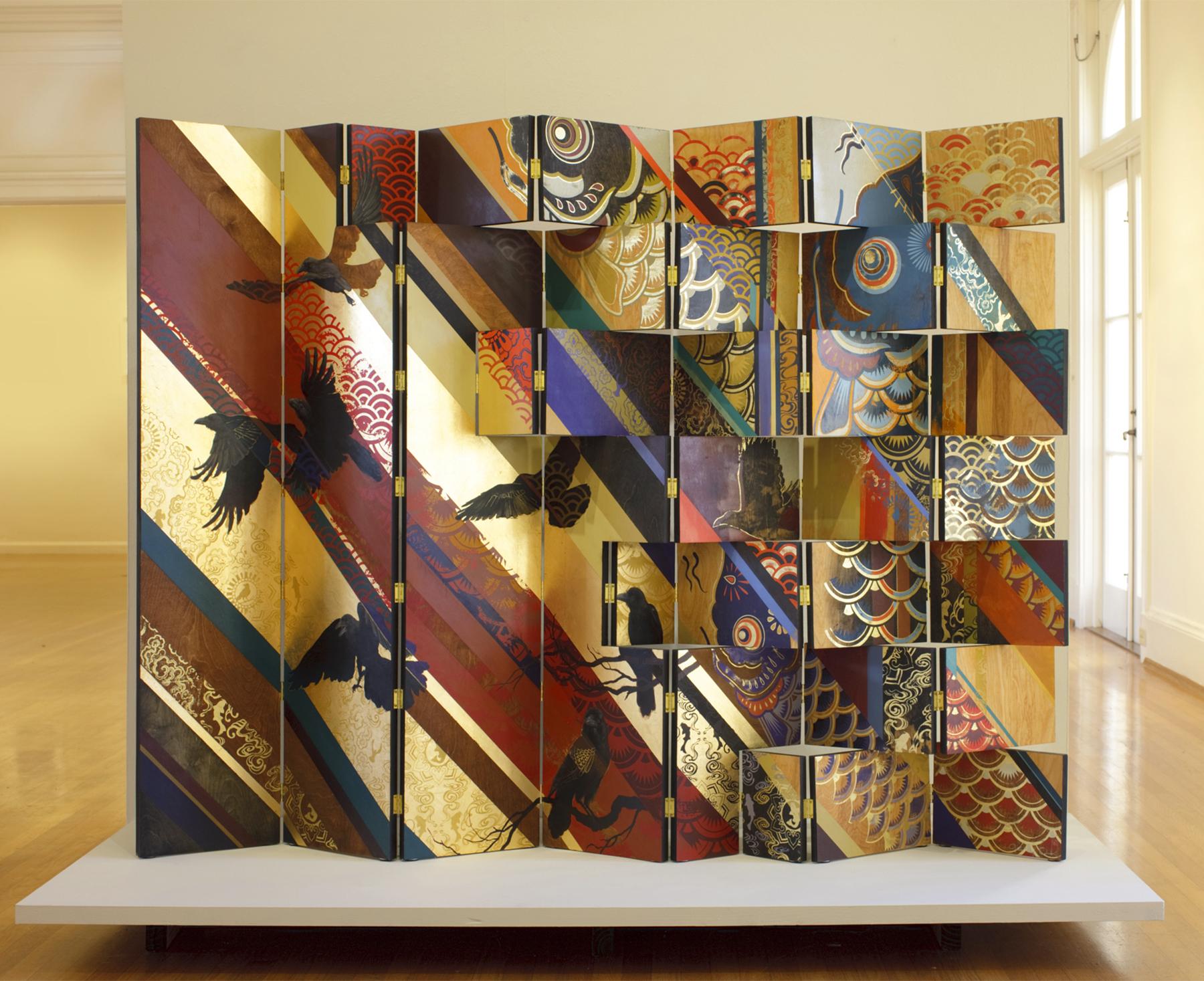 Nobori   oil, acrylic, gold leaf, silkscreen print on panel  2012  56 x 84 in