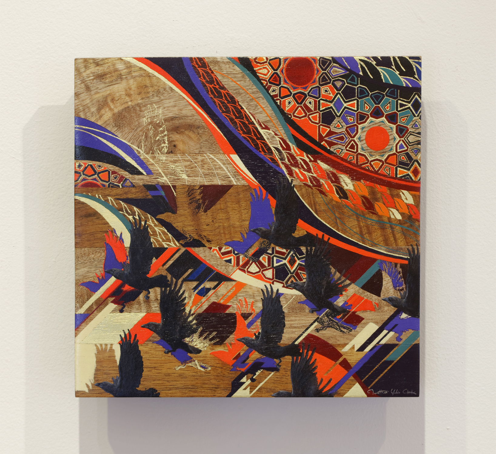 Rise   oil, silkscreen print, gold leaf on hardwood  2013  11 x 11 in