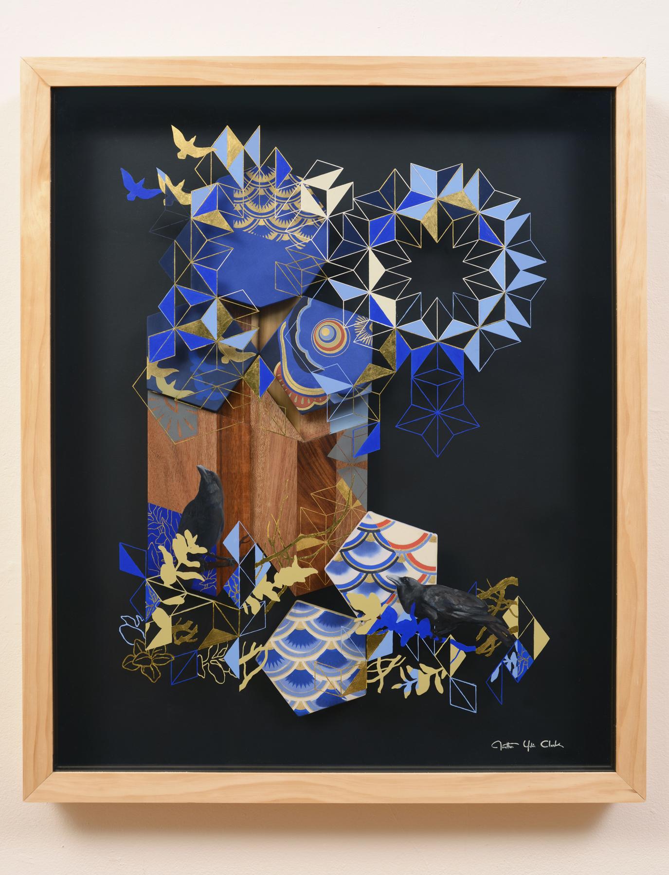 Uroko   oil, gold leaf, silkscreen print on wood, acrylic, silk  2013  37 x 31 in