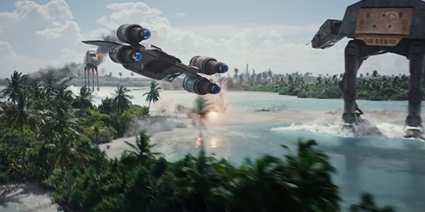 Star Wars battle between the Rebel Alliance and the Empire on a beautiful beach