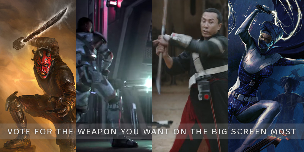 Click on the image to explore some of the great weapons we want to see in the cinematic universe. Vote in our new Polls section and choose from our top 4 new weapon choices. Join the discussion and add your own top pick.