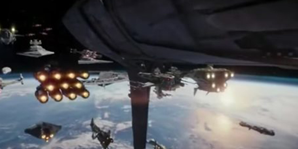 The Rebel Fleet including The Ghost (pictured in the bottom left) from the Disney animated show, Star Wars REBELS.