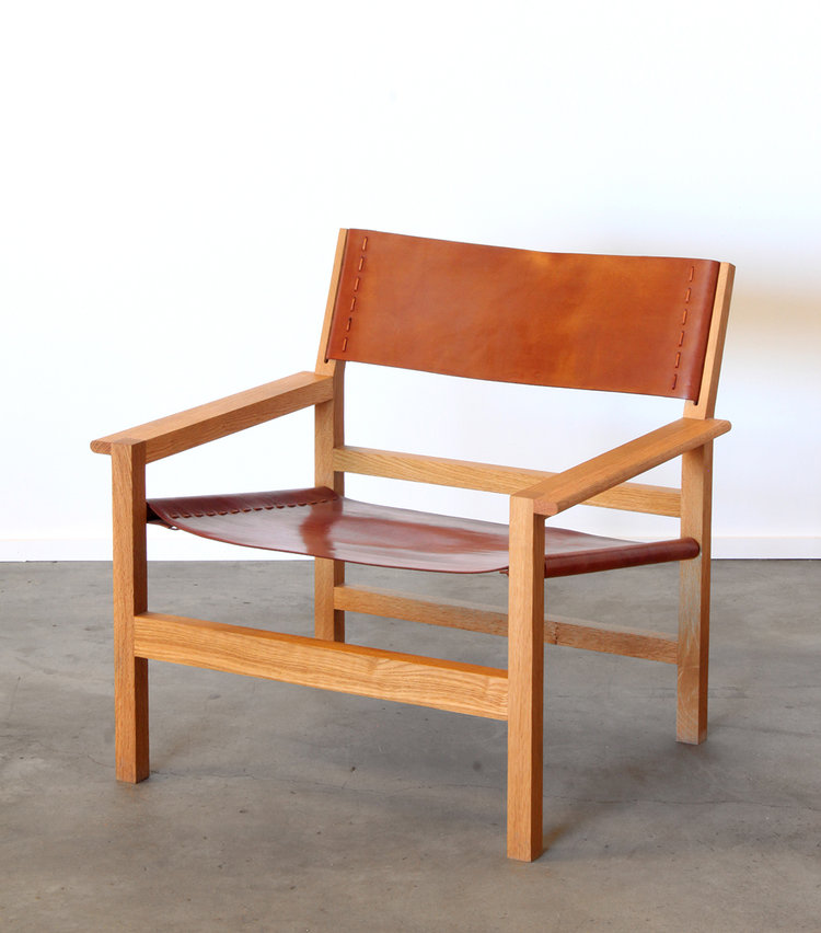 Boyd Oak Lounge Chair with Tan Leather