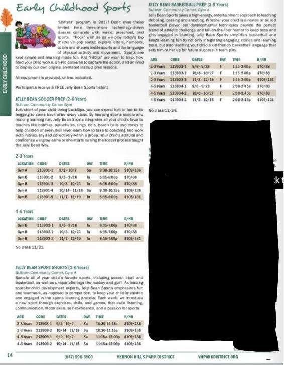 Vernon Hills Park District Schedule