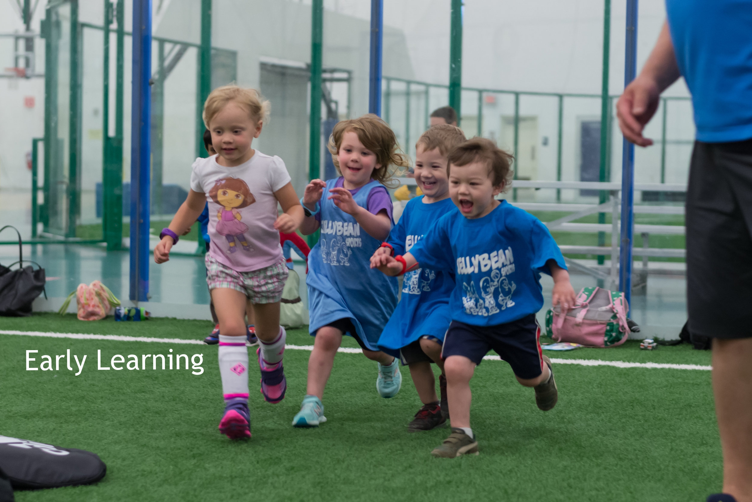 Kids running in a sports class