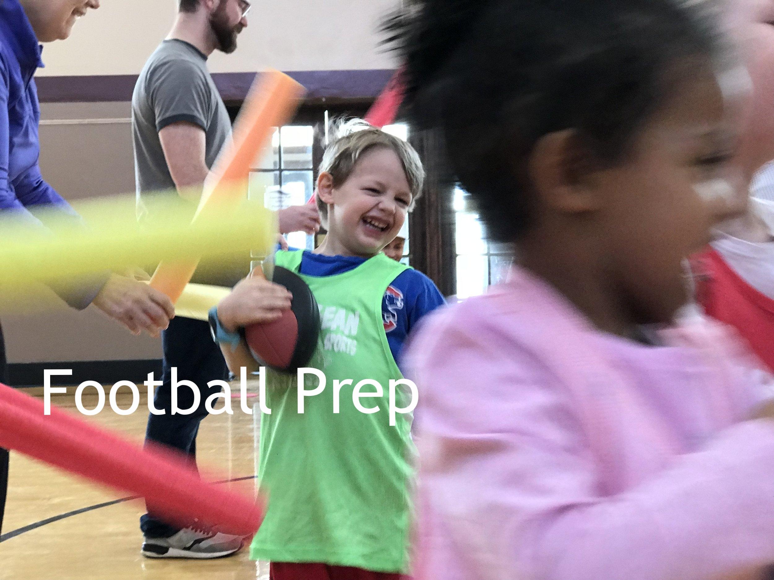 Children running through noodles with footballs