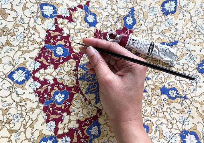 Painting pattern in gouache