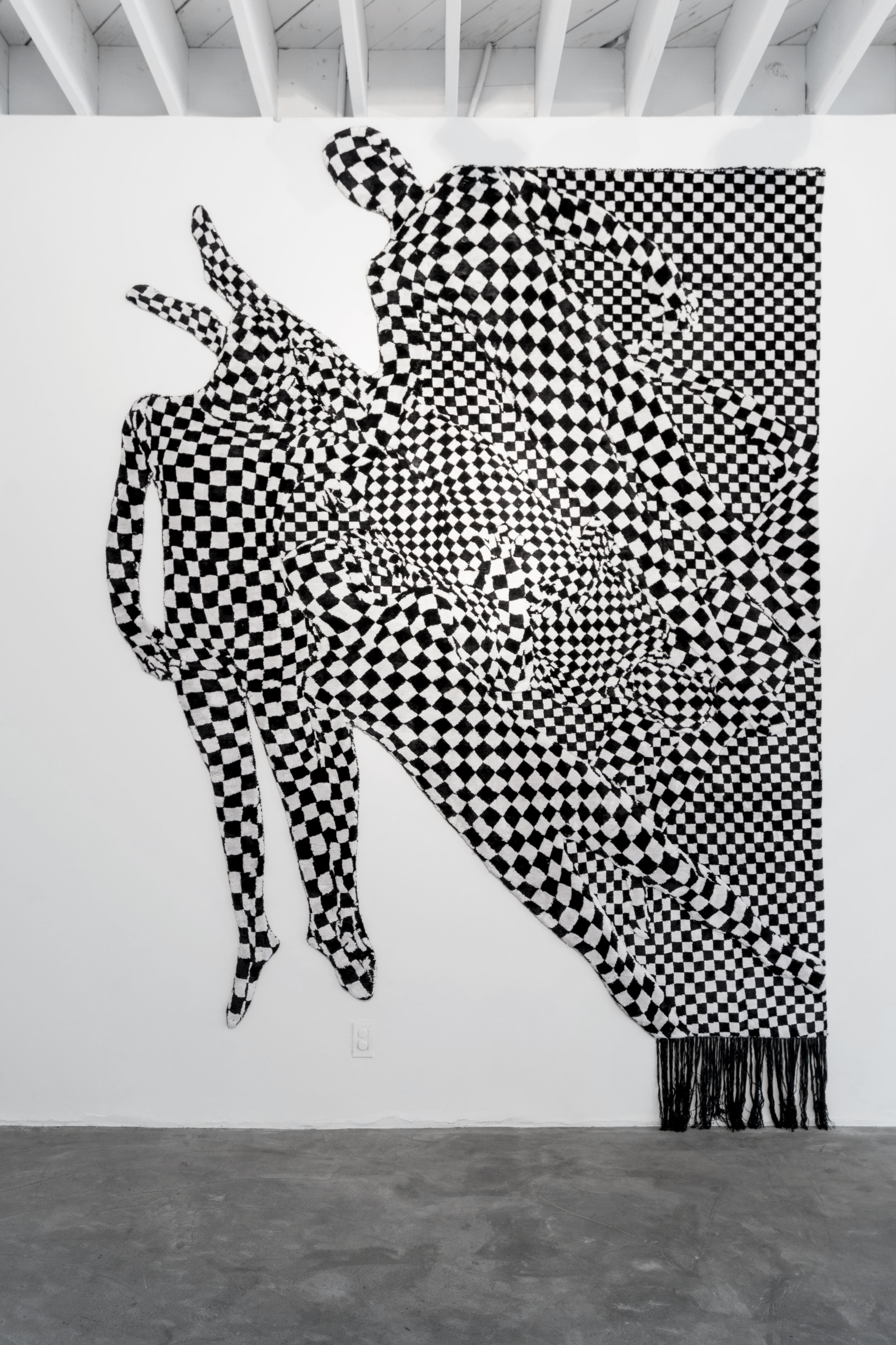 "Olaf Breuning   Black and White People Pattern , 2017  92.5"" x 118""  Hand knotted silk"