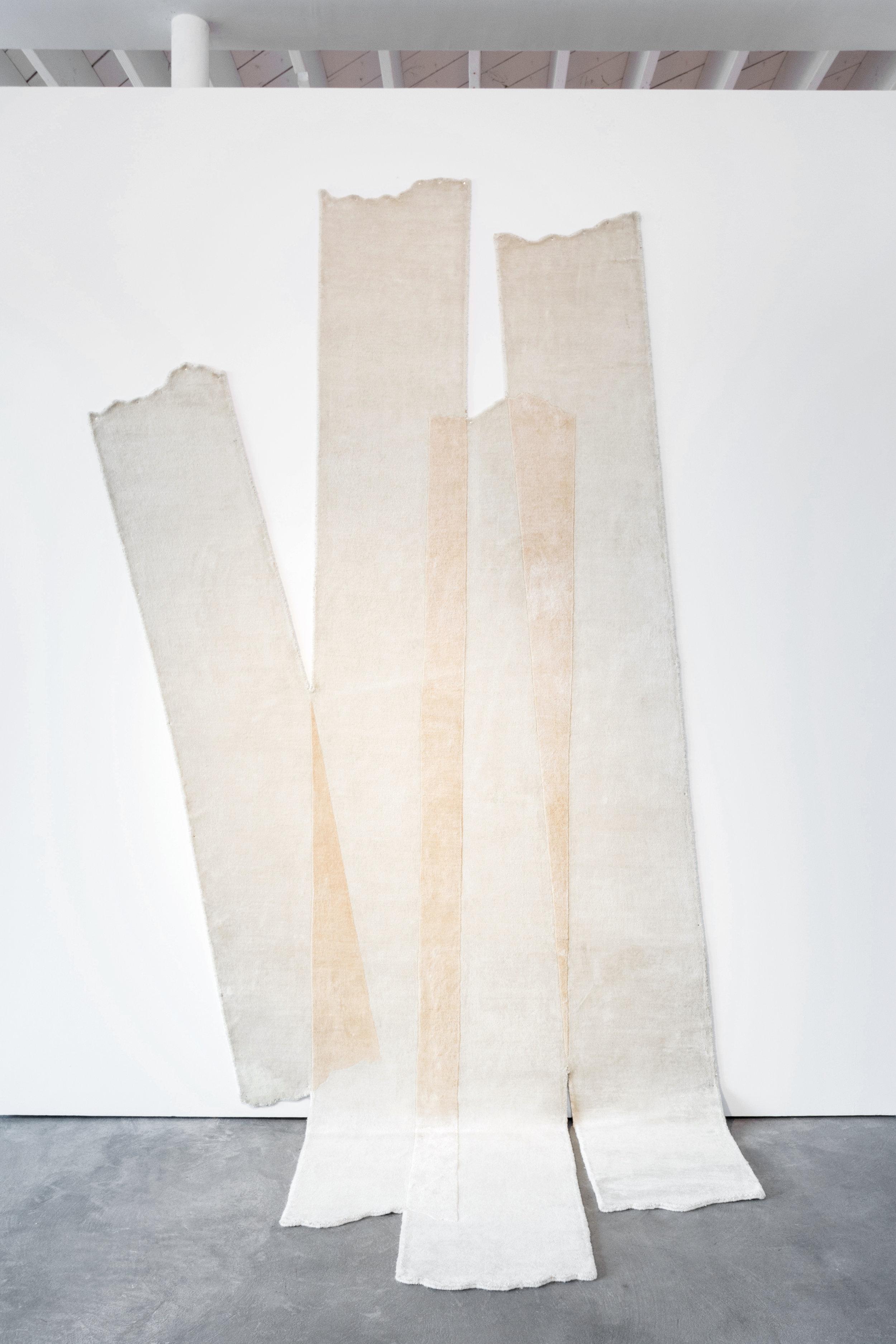 "Ywan Yosef   Masking , 2018  63"" x 130""  Hand knotted silk"