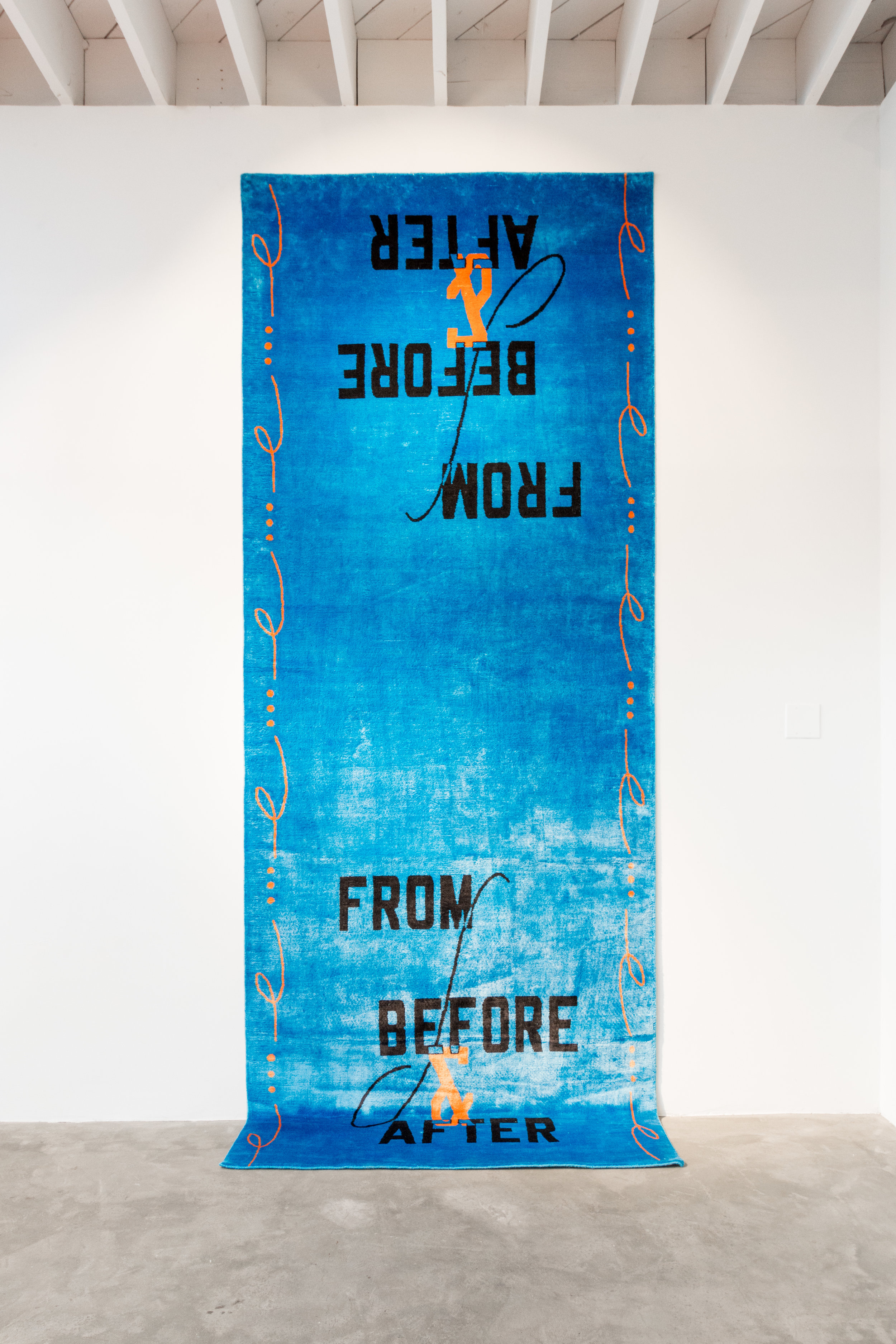 "Lawrence Weiner   From Before and After , 2018  53"" x 138""  Hand knotted silk (bamboo)"